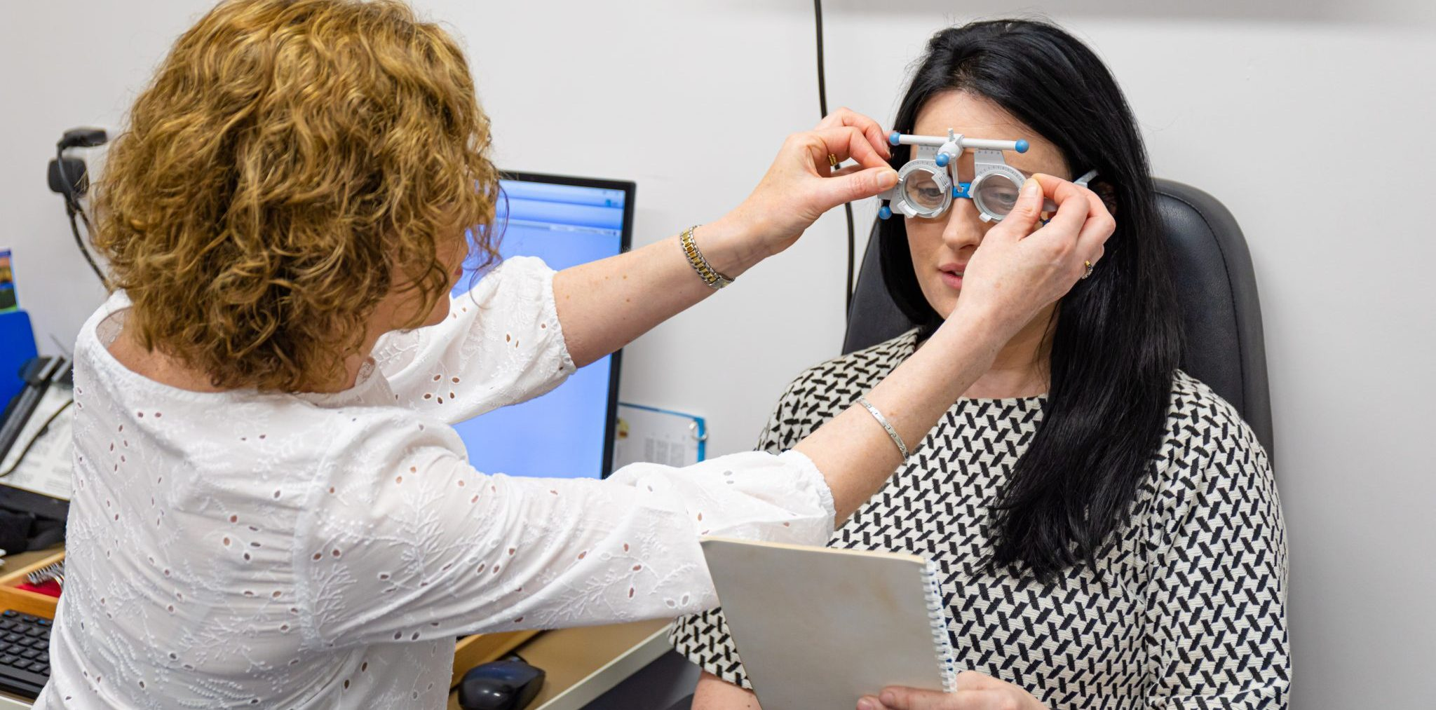 Eye tests using advanced diagnostic equipment
